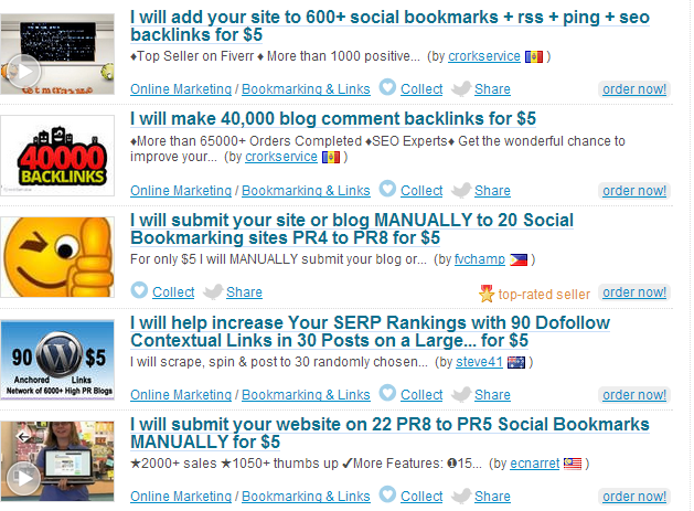 fiverr social bookmarking gig